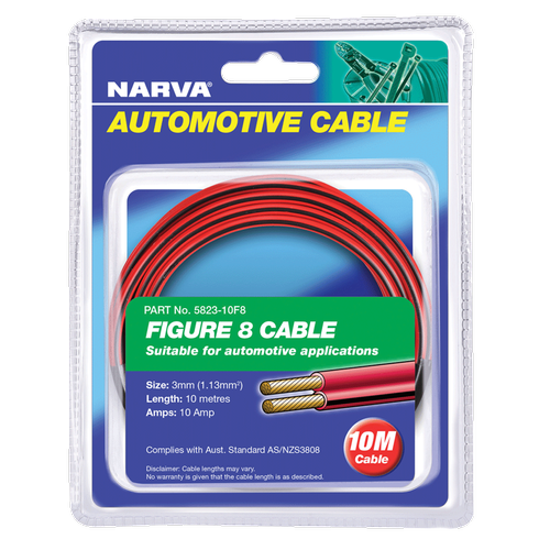 Narva 3mm x 10m 10Amp Red / Black Twin Core Figure 8 Cable