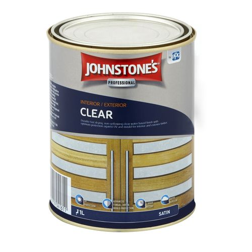 Johnstone's 1L Satin Water Based Clear Interior / Exterior Varnish