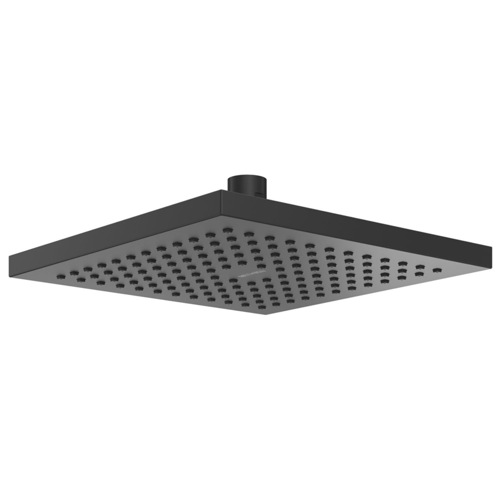 Methven 200mm Matte Black Square Rere Overhead Shower