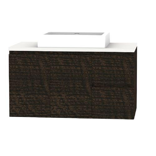 Forme 900mm Mont Albert Wall Hung Vanity With Blanc Stone Top With Comet Basin - RH Drawers - Dark Chocolate