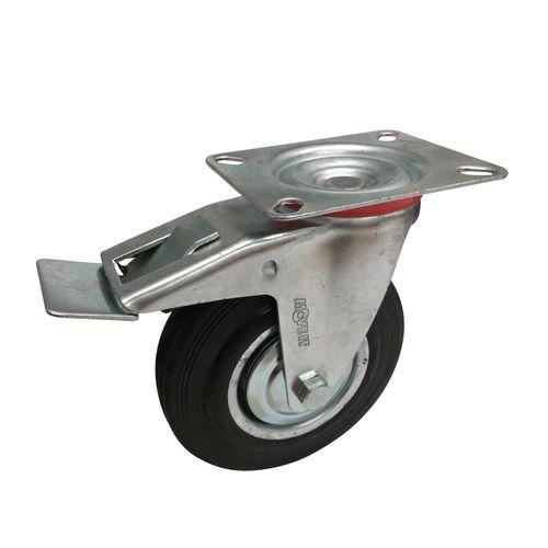 Move It 125mm 100kg Black Rubber Swivel Plate Castor With Brake