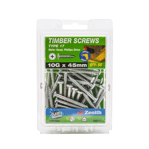 Zenith 10G x 45mm Galvanised Type 17 Wafer Head Timber Screws - 50 Pack