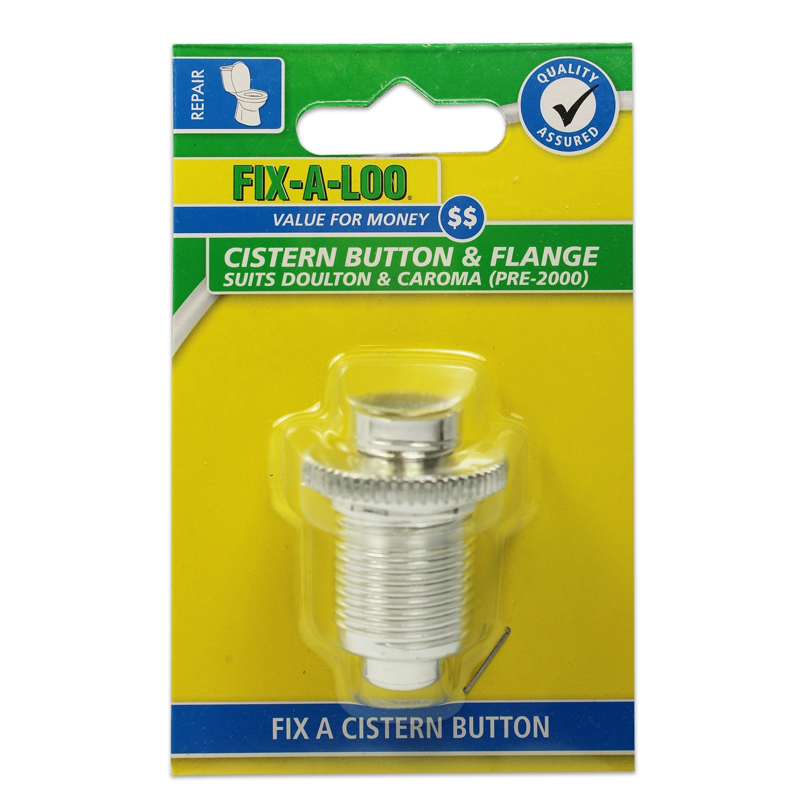 FIX-A-LOO Chrome Cistern Push Button And Flange