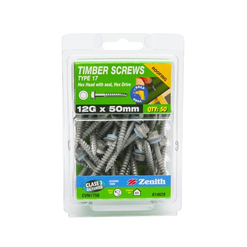 Zenith 12G x 50mm Galvanised Hex Head With Seal Type 17 Timber Screws - 50 Pack