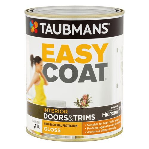 Taubmans Easycoat Gloss White Doors And Trim Paint - 1L