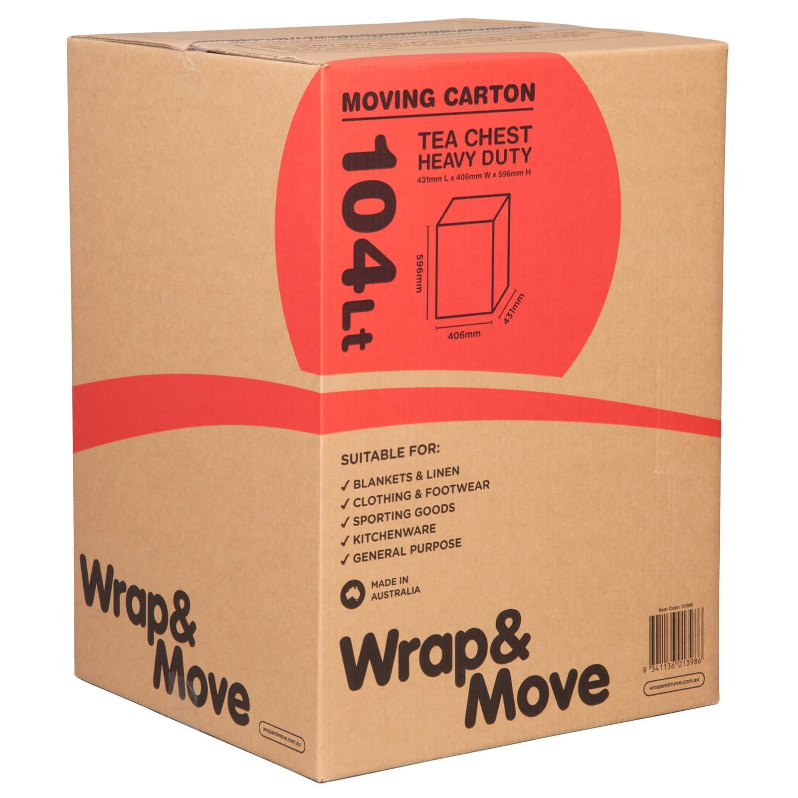 Wrap & Move 104Lt Heavy Duty Tea Chest Moving Carton