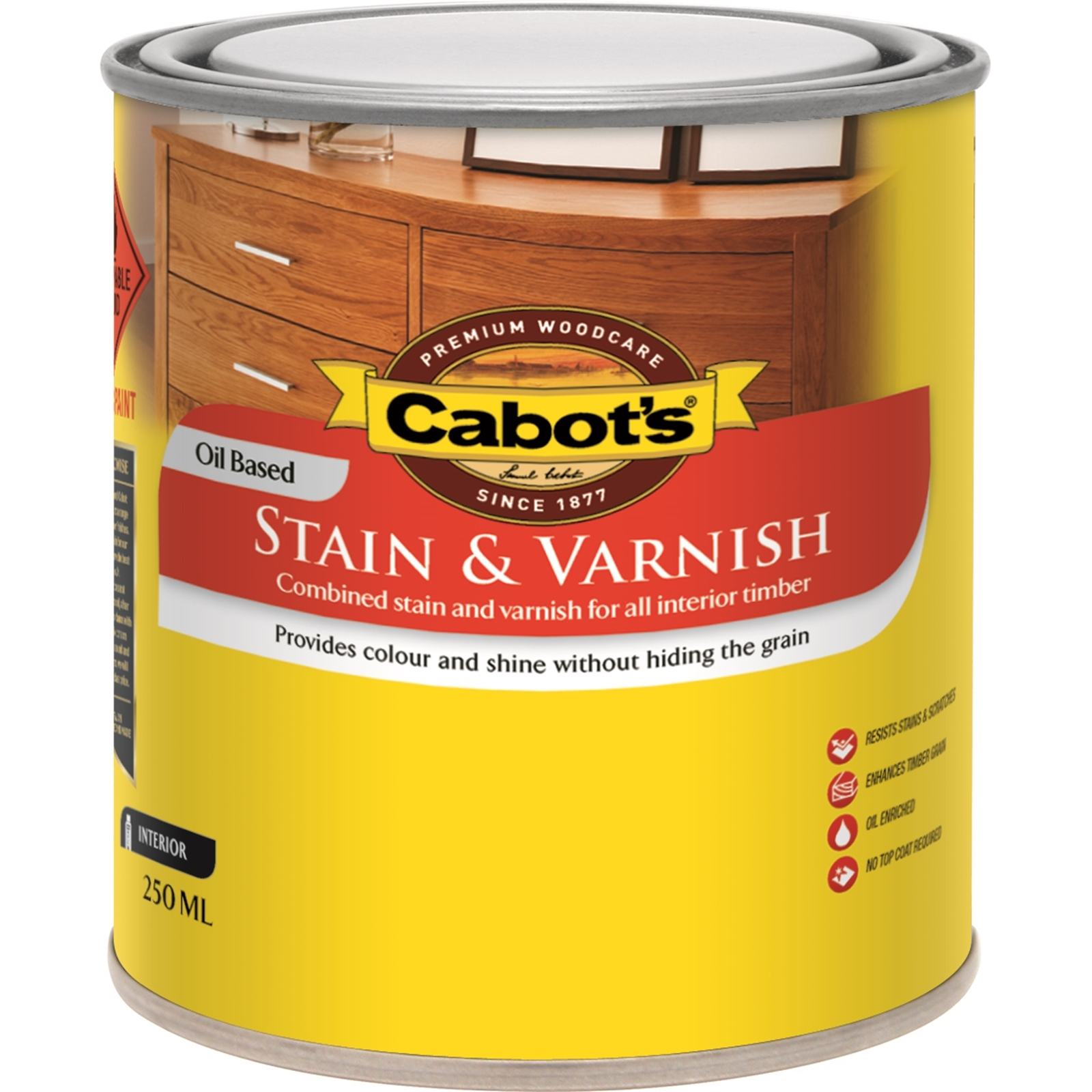 Cabot's 250ml Satin Oil Based Walnut Stain And Varnish