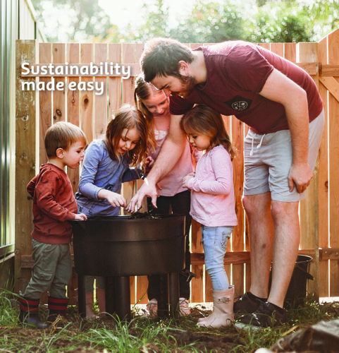 A family composting, with the heading Sustainability Made Easy