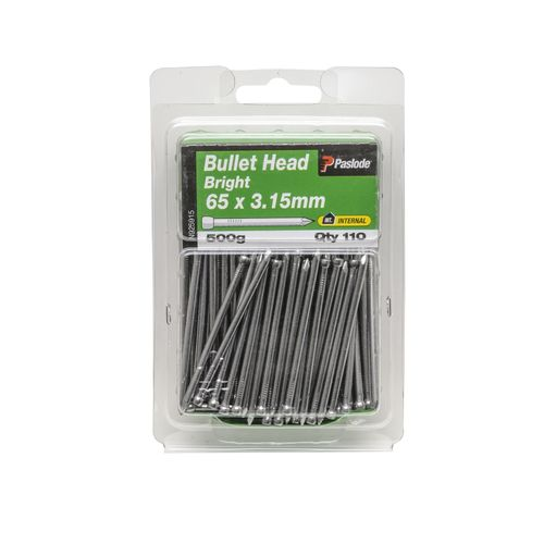 Paslode 65 x 3.15 500g Bright Steel Bullet Head Nails - 110 Pack