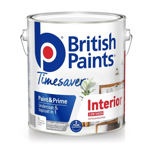 British Paints 4L White Interior Low Sheen Paint And Prime