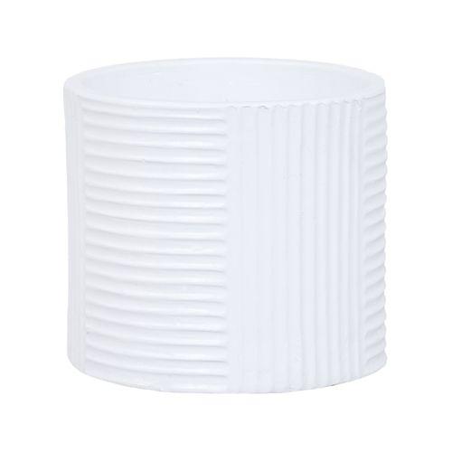 Lotus 23.5 x 21cm White Large Cylinder Ribbed Ceramic Pot