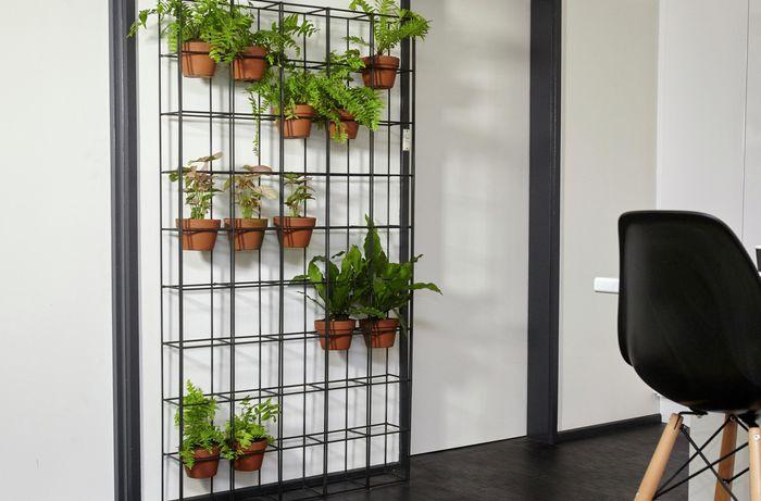 A completed indoor wire vertical garden