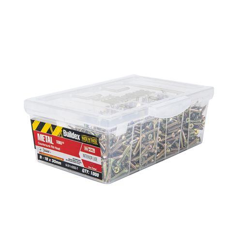 Buildex 8-18 x 30mm Zinc Plated Countersunk Ribbed Head Metal Tek Screws - 1000 Pack