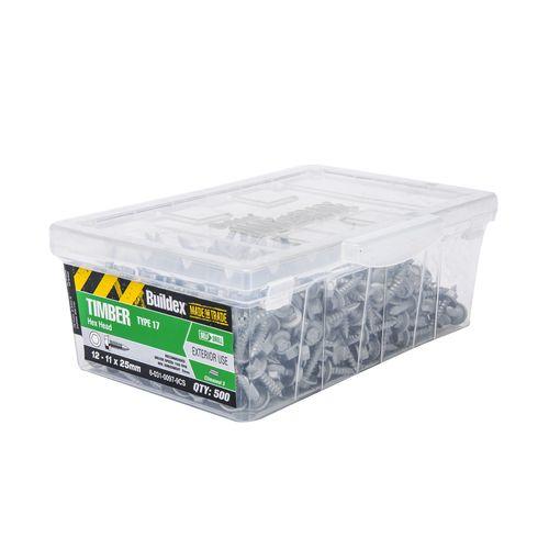 Buildex 12-11 x 25mm Climaseal Hex Head Timber Screws - 500 Box