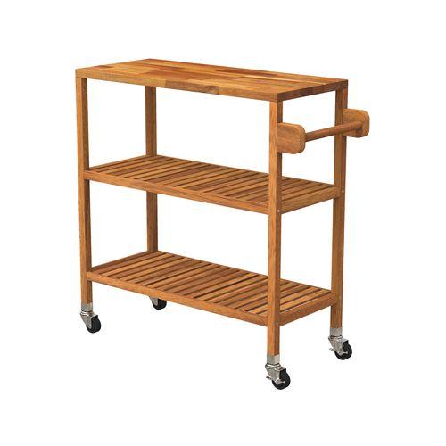 Interbuild 80 x 35 x 85cm Golden Teak Holger Turbo Kitchen Cart